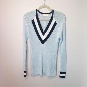 Cozy Crochet Sky-Blue Knit Sweater